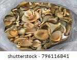 bag of mushrooms  sack of large ... | Shutterstock . vector #796116841