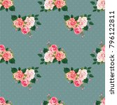 seamless floral pattern with... | Shutterstock .eps vector #796122811