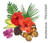tropical flowers and leaves ... | Shutterstock .eps vector #796123369