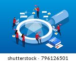 isometric magnifying glass and... | Shutterstock .eps vector #796126501
