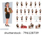 set of business woman character ... | Shutterstock .eps vector #796128739