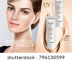foundation makeup ads  pretty... | Shutterstock .eps vector #796130599