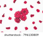 Stock photo flower composition pattern of fresh roses pink roses hearts and rose petals on a white 796130809