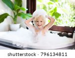 little child taking bubble bath ... | Shutterstock . vector #796134811