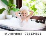 little child taking bubble bath ... | Shutterstock . vector #796134811