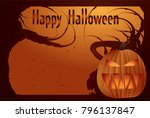 halloween card with glowing... | Shutterstock .eps vector #796137847