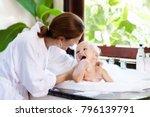 little child taking bubble bath ... | Shutterstock . vector #796139791