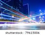 light trails on the modern city ... | Shutterstock . vector #79615006