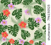 floral seamless pattern with... | Shutterstock .eps vector #796150525