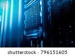 big data serer in rack with... | Shutterstock . vector #796151605