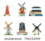 traditional ancient windmill... | Shutterstock .eps vector #796153459