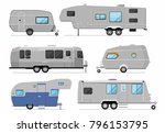 camping trailers isolated on... | Shutterstock .eps vector #796153795