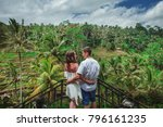 happy couple walking at the... | Shutterstock . vector #796161235