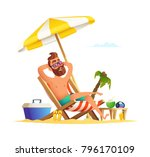 beard man sitting on a sunbed.... | Shutterstock .eps vector #796170109