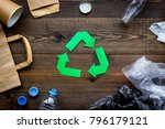 green paper recycling sign... | Shutterstock . vector #796179121