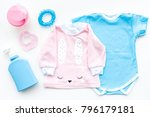 baby clothes concept. blue... | Shutterstock . vector #796179181