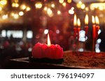 burning red chinese candle in... | Shutterstock . vector #796194097