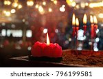 burning red chinese candle in... | Shutterstock . vector #796199581