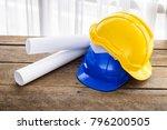 yellow  blue hard safety helmet ...   Shutterstock . vector #796200505