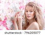 beautiful romantic young woman...   Shutterstock . vector #796205077