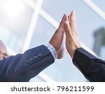 close up of businessmen giving... | Shutterstock . vector #796211599