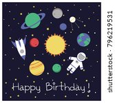cartoon galaxy card design   | Shutterstock .eps vector #796219531