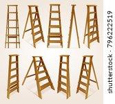 realistic 3d wood step ladder... | Shutterstock .eps vector #796222519