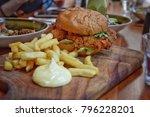 spicy chicken burger  burgers ...   Shutterstock . vector #796228201