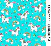 Cute Unicorn And Rainbow...