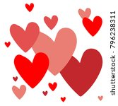 red and pink hearts on white... | Shutterstock .eps vector #796238311