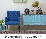 blue armchair  vintage wooden... | Shutterstock . vector #796238347