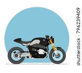 bmw r nine t cafe racer cartoon ... | Shutterstock .eps vector #796239409