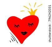cartoon character red heart on... | Shutterstock .eps vector #796242031