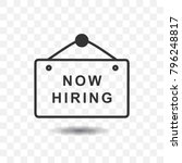 hanging sign board  now hiring... | Shutterstock .eps vector #796248817