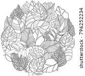 circle floral doodle background ... | Shutterstock .eps vector #796252234