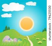 easter eggs in a spring... | Shutterstock . vector #79625530