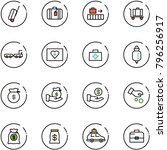 line vector icon set   suitcase ... | Shutterstock .eps vector #796256917