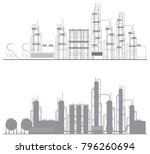 petrochemical plant complex | Shutterstock .eps vector #796260694