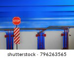 stop signs and moving trains. | Shutterstock . vector #796263565