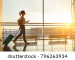 young woman goes  at airport ... | Shutterstock . vector #796263934