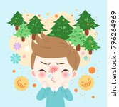 cute cartoon boy get hay fever... | Shutterstock .eps vector #796264969