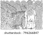 girl with long hair in the... | Shutterstock .eps vector #796266847