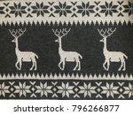 knitted deer pattern gray white ... | Shutterstock . vector #796266877