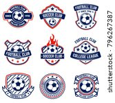 set of soccer  football emblems.... | Shutterstock .eps vector #796267387
