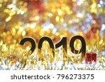 golden 2019 3d digital icon... | Shutterstock . vector #796273375