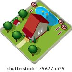 house view from above  3d model ... | Shutterstock .eps vector #796275529