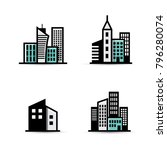 building vector icon set... | Shutterstock .eps vector #796280074