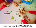 kids and teacher building robot ... | Shutterstock . vector #796281964