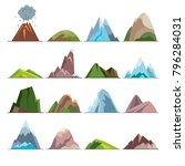 collection of mountain icons in ... | Shutterstock .eps vector #796284031