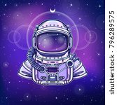 animation astronaut in a space... | Shutterstock .eps vector #796289575